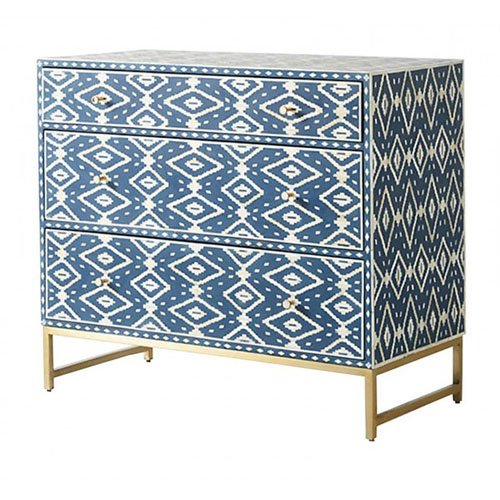 Diamond Azure Bone Inlay Chest of Drawers