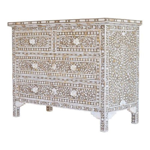Flora Bone Inlay Chest of Drawers