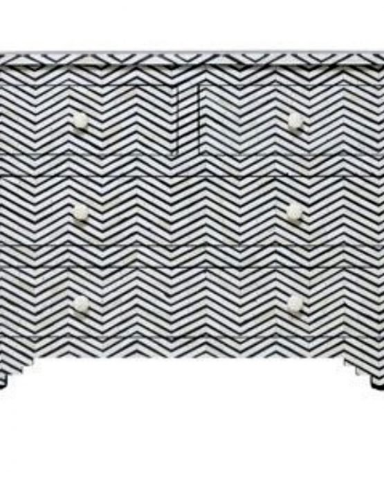 Noire Chevron Bone Inlay Chest of Drawers