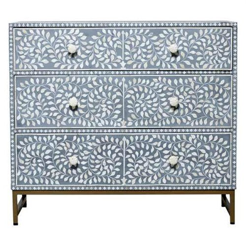 Gray Foliage Bone Inlay Chest of Drawers
