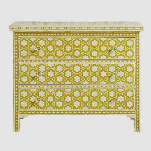 Mustard Flora Bone Inlay Chest of Drawers