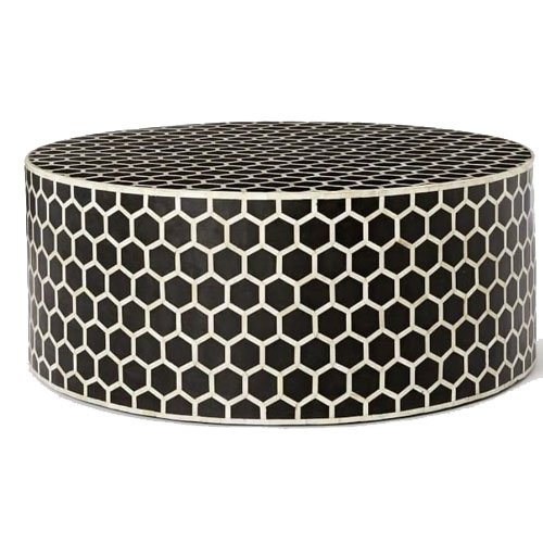 Honeycomb Noire Bone Inlay Round Coffee Table