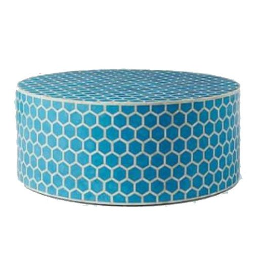 Blue Honeycomb Aqua Bone Inlay Round Coffee Table