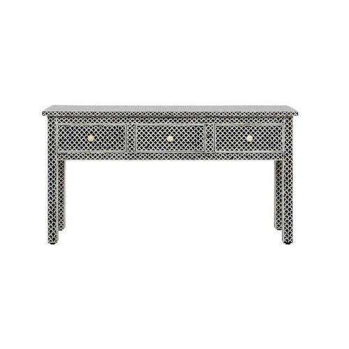 Black Fish scales Beauty Bone Inlay Console Table | Sideboard