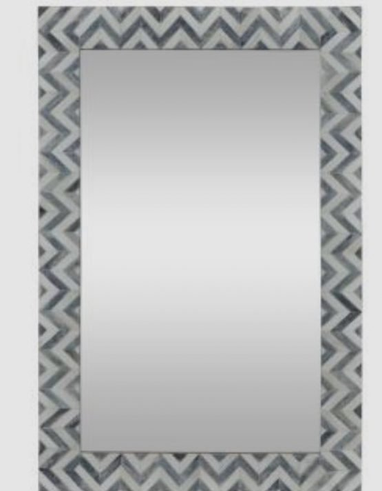 Chevron Art Bone Inlay Mirror