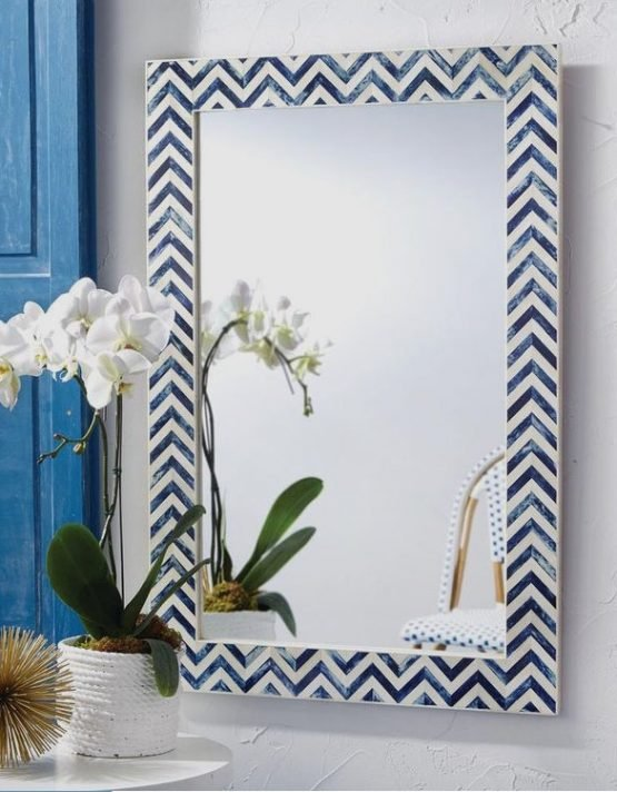 Blue Chevron Art Bone Inlay Mirror