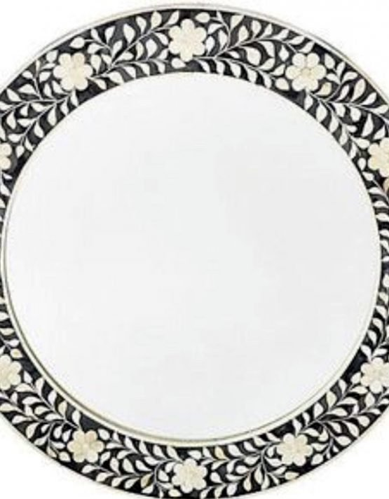 Round Floral Bone Inlay Mirror