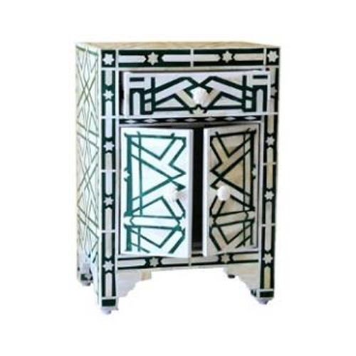 Geo Charm Bone Inlay Bedside Table