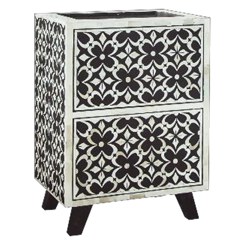 Floral Unique Bone Inlay Bedside Table