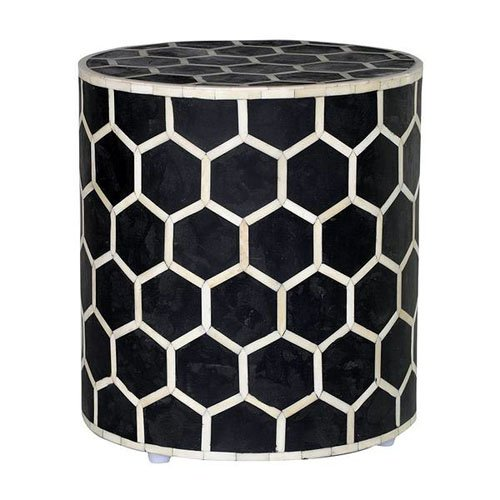 Hexadic Noire Bone Inlay Bedside Table / Nightstand