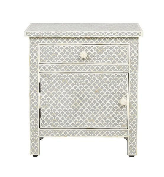 Gray Fishnet Design Bone Inlay Bedside/Nightstands