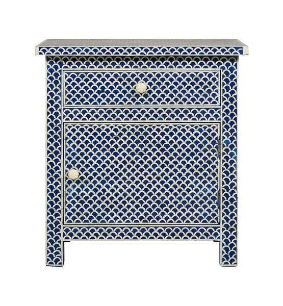 Blue Fishnet Design Bone Inlay Bedside/Nightstands
