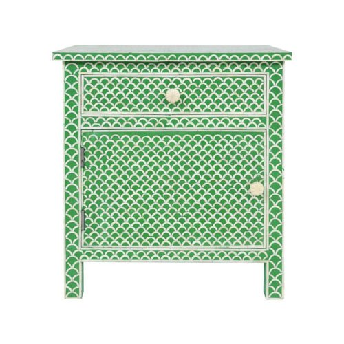 Green Fishnet Design Bone Inlay Bedside/Nightstands