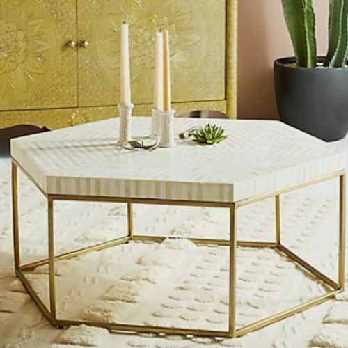 Hexagon Sauve Bone Inlay Coffee Table