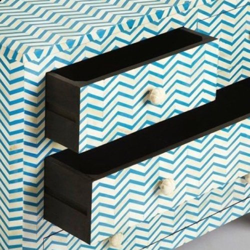 Chevron Bone Inlay Chest of Drawers
