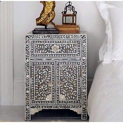 Noire Foliage Mother of Pearl Inlay Bedside
