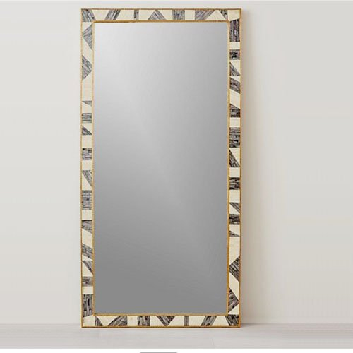 Geometric Bone Inlay Mirror
