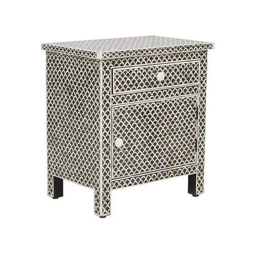 Black Fishnet Design Bone Inlay Bedside / Nightstands
