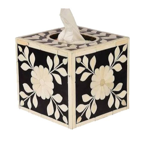 Cube Foliage Bone Inlay Tissue Box