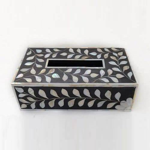 Cuboid Foliage Bone Inlay Tissue Box