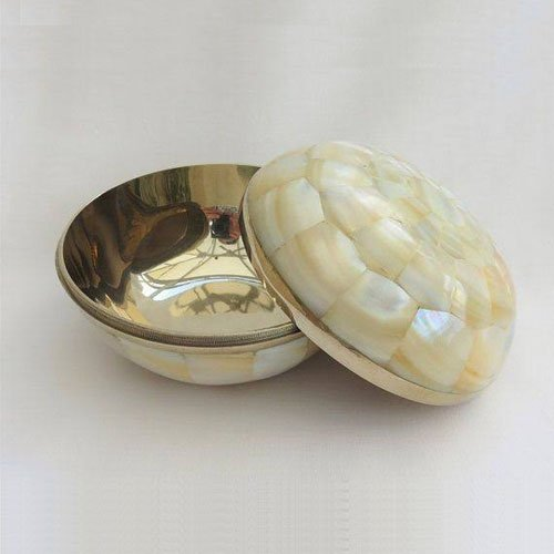 Appealing Mother of Pearl and Brass Bowl