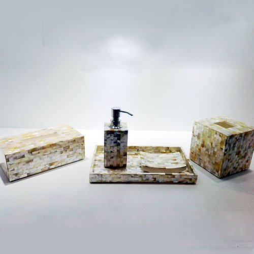 Suave White Mother of Pearl Bathroom Set