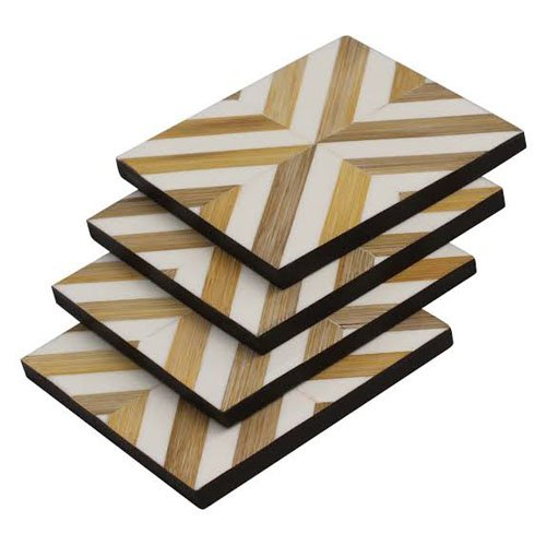 Square Pretty Bone Inlay Coasters