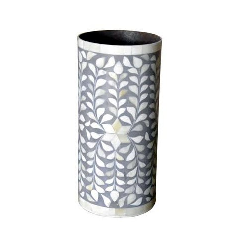 Gray Handcrafted Bone Inlay Vase