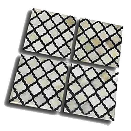 Moroccan Grid Bone Inlay Coasters