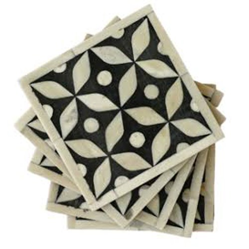 Square Blue Bone Inlay Coasters