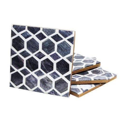 Blue Grids Bone Inlay Coasters