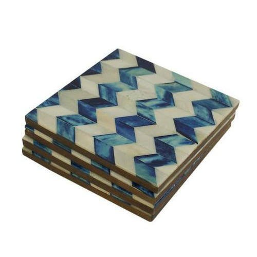 Chevron Blue Bone Inlay Coasters