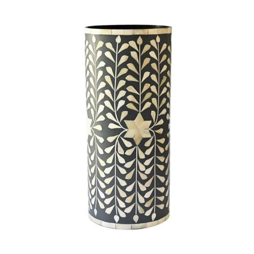 Noire Foliage Handcrafted Bone Inlay Vase