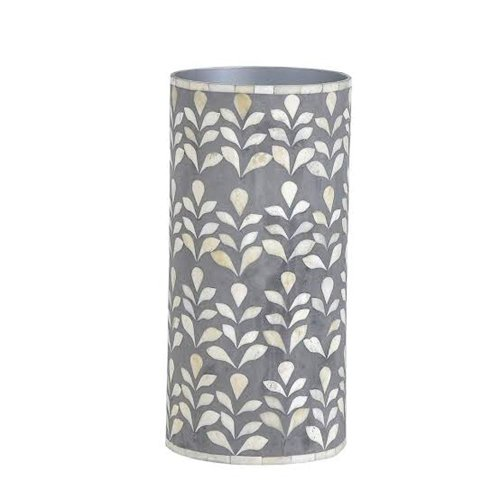 Gray Leaf Bone Inlay Vase