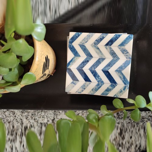 Chevron Blue Resin Coasters