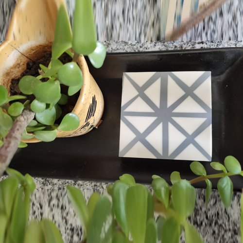 Gray Grids Resin Coasters