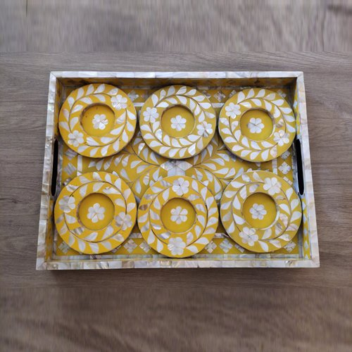 Yellow Foliage Mother of Pearl Coasters (With Glass Cavity)