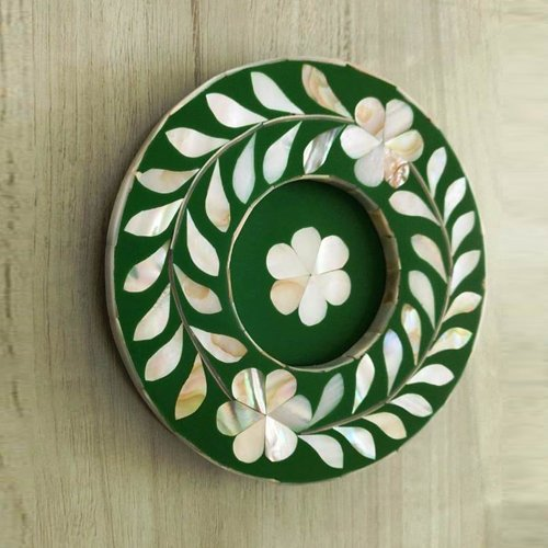Green Foliage Mother of Pearl Coasters (With Glass Cavity)