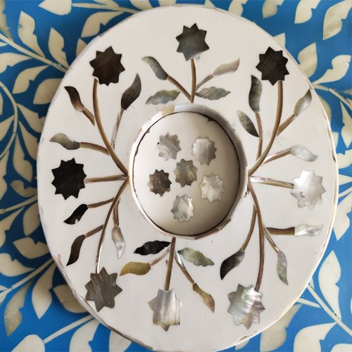 Gray Foliage Mother of Pearl Coasters (With Glass Cavity)