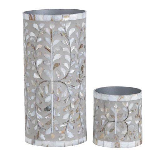 Gray Foliage Mother of Pearl Inlay Vase