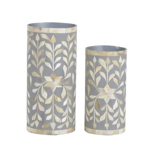 Gray Handcrafted Mother of Pearl Inlay Vase