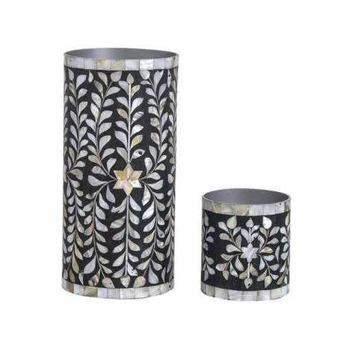 Noire Foliage Mother of Pearl Inlay Vase