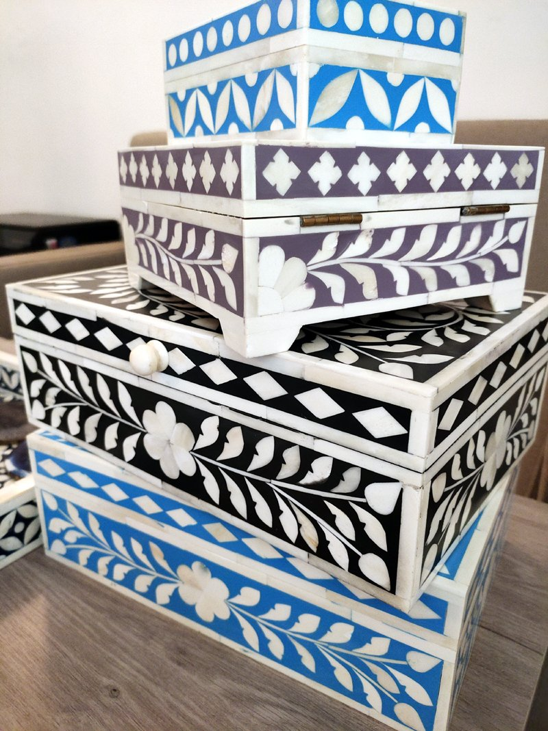 Store Your Trinket in Style Handmade Bone Inlay Boxes