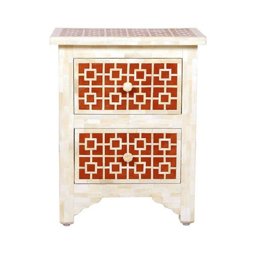 Contemporary Bone Inlay Bedside Table Detach