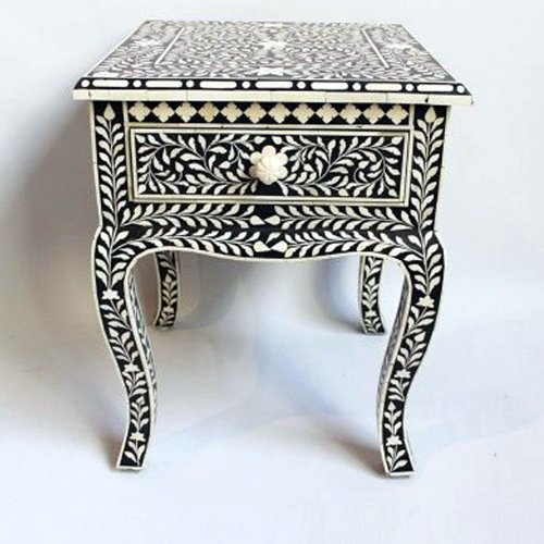 Crafty Bone Inlay Bedside Table