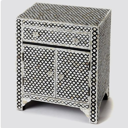 Jazzy Bone Inlay Bedside Table