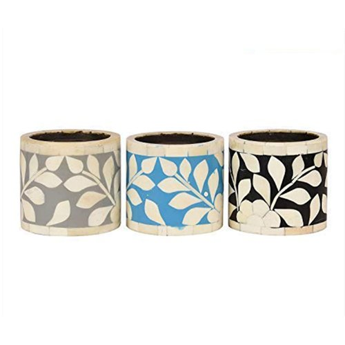 Alluring Bone Inlay Candle Holder