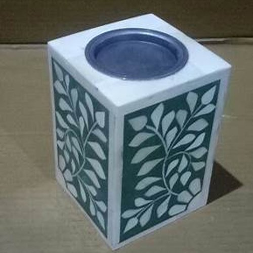 Dainty Cube Bone Inlay Candle Holder
