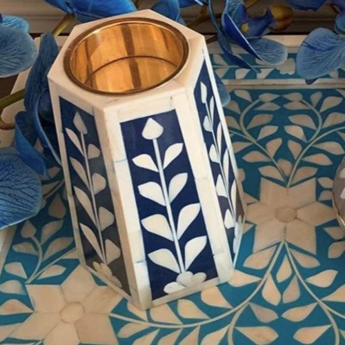 Bone Inlay Candle Holder