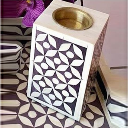 Enticing Bone Inlay Candle Holder